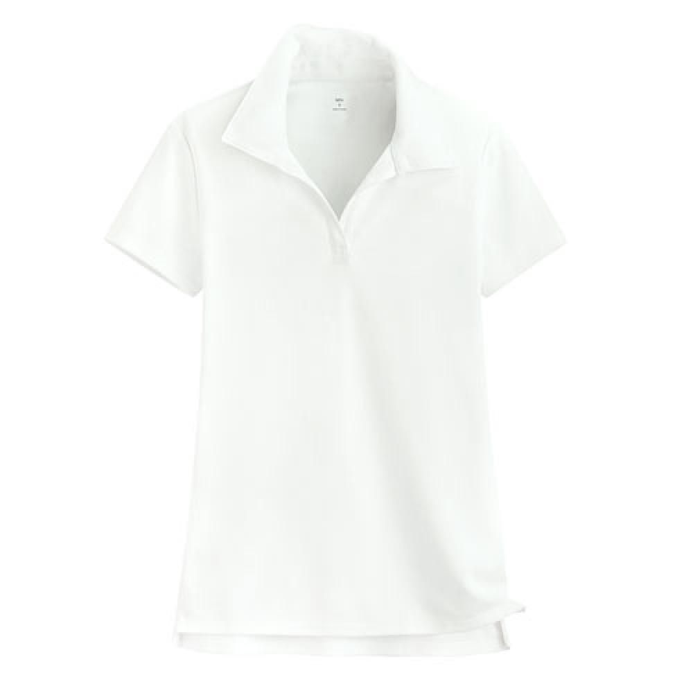 Lativ : 吸排開領polo衫-女( 白色)