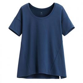 image of Lativ : 吸排寬版短袖T恤-女( 麻花深藍)