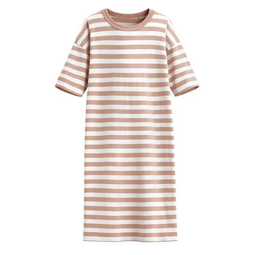 Lativ:厚紡寬版條紋洋裝-女( 灰粉條 -S)