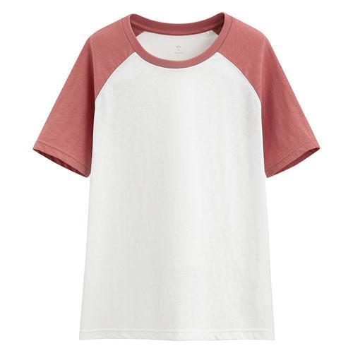 image of Lativ: 竹節棉配色T恤-女( 淺暮紅)