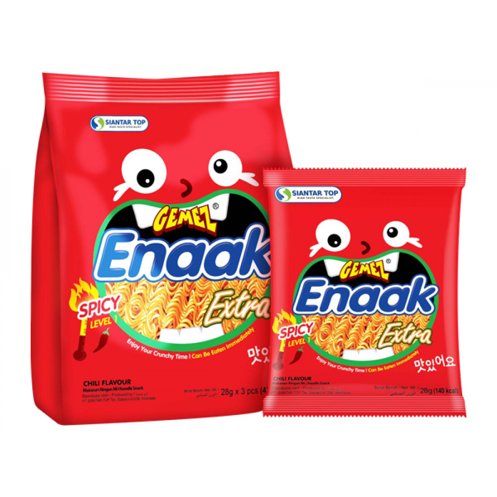 韓國 ENAAK~韓式小雞麵 辣味(增量袋裝28gx3包) Korea ENAAK~ Korean Chicken Noodle Spicy (Incremental Bag 28gx3 Pack)