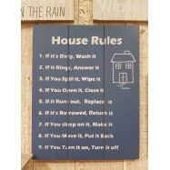 image of House Rules Wooden Sign
