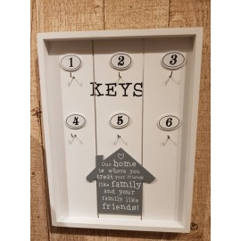 image of Country Style Wooden Box Key Holder Keys Pendant Storage Wall Hanger Home Decor