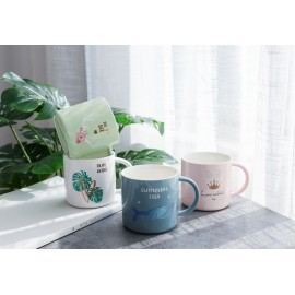image of Nordic Monstera Deer Crown Rabbit Porcelain Coffee Mug Ceramic Cup for Coffee Tea Milk Gift