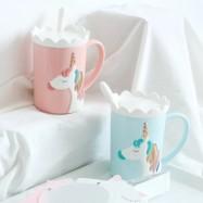 image of Creative 3D Relief Glod Unicorn Coffee Mug with Spoon and Crown Lid Drinking Coffee Tea Cup Gift