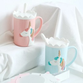 image of Creative 3D Relief Glod Unicorn Coffee Mug with Spoon and Crown Lid Drinking Coffee Tea Cup Gift