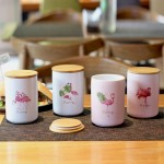 Flamingo ceramic food storage canister, One set