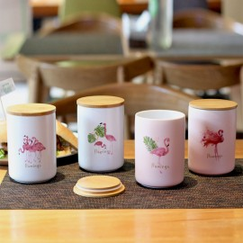 image of Flamingo ceramic food storage canister, One set