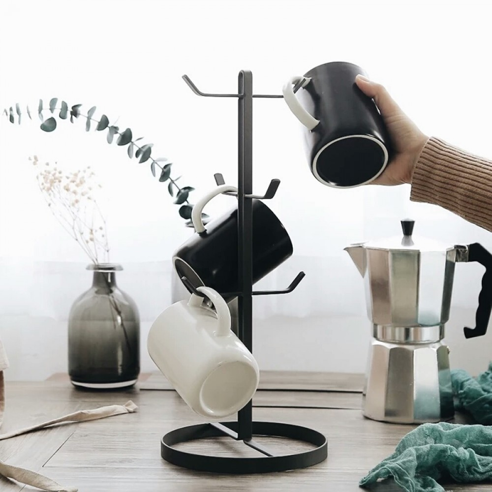 Mug Stand - Rack Coffee Tea Storage Hanger Cup Organizer Holder with 6 Hooks
