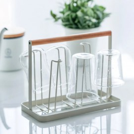 image of Wood Handle Iron 6 Cups Storage Rack