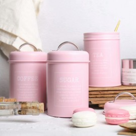 image of Zakka Living Tea / Sugar / Coffee Canister Set (Pink)