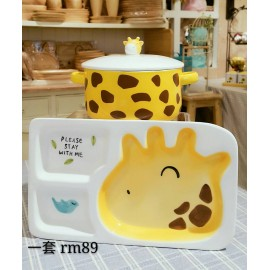 image of Zakka Living Ziraffe Children Bowl and Plate Set