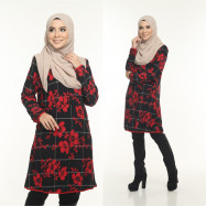 image of Blouse Delisha Muslimah Pocket Kiri Dan Kanan Zip Depan A Cut - Red Black