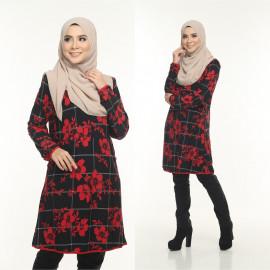 image of Blouse Delisha Muslimah Pocket Kiri Dan Kanan Zip Depan A Cut - Red Black