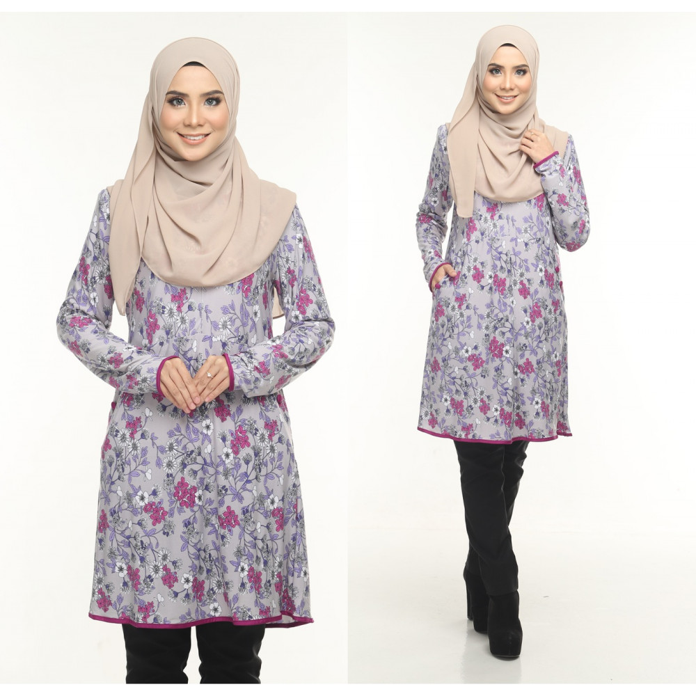 Blouse Delisha Muslimah Pocket Kiri Dan Kanan Zip Depan A Cut