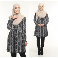 image of Blouse Delisha Muslimah Pocket Kiri Dan Kanan Zip Depan A Cut - Black Grey