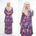 Baju Kurung Moden Adiva Korean Lycra Muslimah Wear Zip Depan Floral