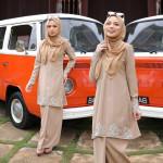Baju Kurung Moden Orked Hiasan Sulam Baju Zip Depan