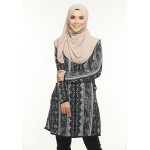Blouse Delisha Muslimah Pocket Kiri Dan Kanan Zip Depan A Cut - Black Grey
