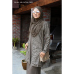 Baju Kurung Moden Melure Muslimah Wear Zip Depan,Bunga Exclusive - Charcoal Grey