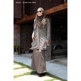 image of Baju Kurung Moden Melure Muslimah Wear Zip Depan,Bunga Exclusive - Charcoal Grey