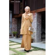 image of Baju Kurung Moden Melure Muslimah Wear Zip Depan,Bunga Exclusive - Caramel