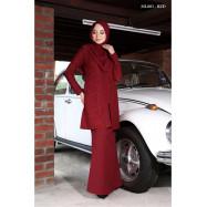 image of Baju Kurung Moden Melure Muslimah Wear Zip Depan,Bunga Exclusive - Red