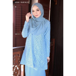 Baju Kurung Moden Melure Muslimah Wear Zip Depan,Bunga Exclusive - Baby Blue