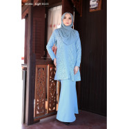 image of Baju Kurung Moden Melure Muslimah Wear Zip Depan,Bunga Exclusive - Baby Blue