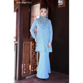 image of Baju Kurung Moden Melure Muslimah Wear Zip Depan,Bunga Exclusive - Baby Blue