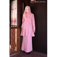 image of Baju Kurung Moden Melure Muslimah Wear Zip Depan,Bunga Exclusive - Soft Pink