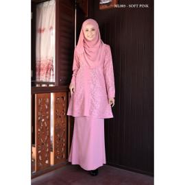 image of Baju Kurung Moden Melure Muslimah Wear Zip Depan,Bunga Exclusive - Soft Pink