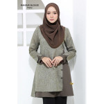 Blouse Mahsuri Muslimah Pocket Di Kanan - Grey