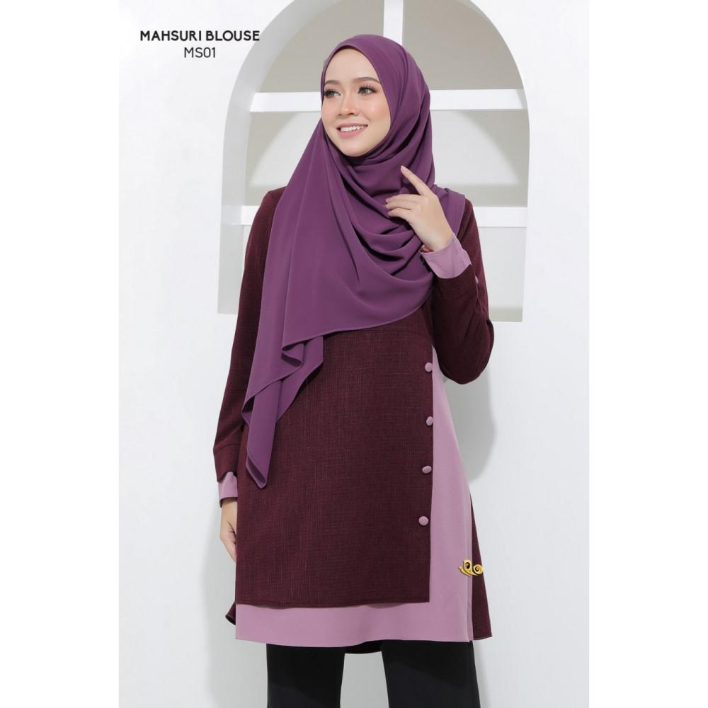 Blouse Mahsuri Muslimah Pocket Di Kanan - Purple