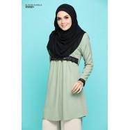 image of Blouse Khawla Zip Belakang Lace Depan Baju & Hujung Tangan - Light Olive