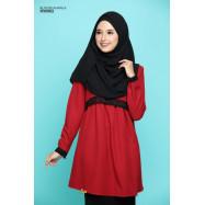 image of Blouse Khawla Zip Belakang Lace Depan Baju & Hujung Tangan - Red