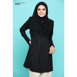 image of Blouse Khawla Zip Belakang Lace Depan Baju & Hujung Tangan - Black
