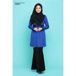 Blouse Khawla Zip Belakang Lace Depan Baju & Hujung Tangan - Royal Blue