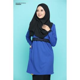image of Blouse Khawla Zip Belakang Lace Depan Baju & Hujung Tangan - Royal Blue