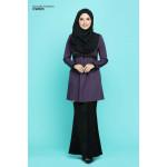 Blouse Khawla Zip Belakang Lace Depan Baju & Hujung Tangan - Deep Lavender