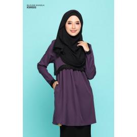 image of Blouse Khawla Zip Belakang Lace Depan Baju & Hujung Tangan - Deep Lavender