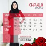Blouse Khawla Zip Belakang Lace Depan Baju & Hujung Tangan - Light Olive