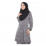 Baju Kurung Moden Adiva Korean Lycra Less Iron Muslimah Wear - Grey