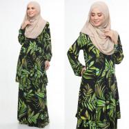 image of Baju Kurung Moden Adiva Korean Lycra Muslimah Wear Zip Depan Floral