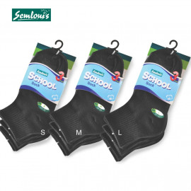 image of Semlouis 3 In 1 School Ankle High Socks -Black