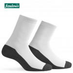 Semlouis 3 In 1 Quarter Crew Socks -White With Dark Grey Base