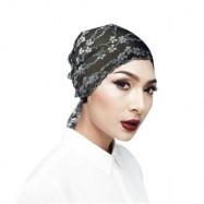 image of Semlouis Hijab Inner Anak Tudung Dengan Hiasan Lace Bercorak Bunga -Hitam /Putih