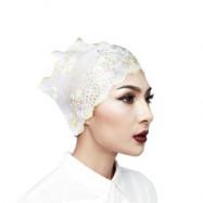 image of Semlouis Inner Anak Tudung Lace Berhiasan Rhinestones - Hitam/Putih (2 In 1) X