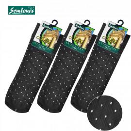 image of Semlouis 2 In 1 Aurat Sarung Kaki Paras Ankle- Hitam - Corak Timbul Dengan Titik