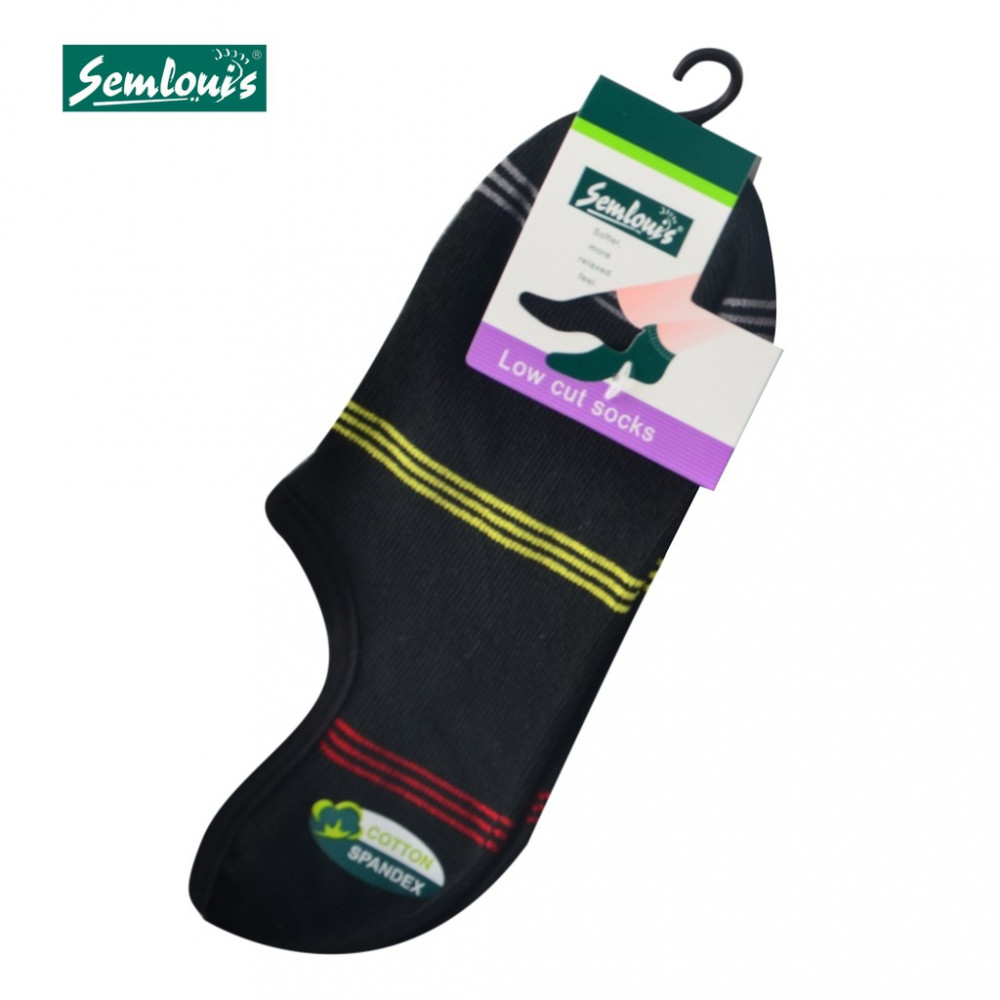 Semlouis 4 In 1 Men's Low Cut Socks - 3-Lined Stripes